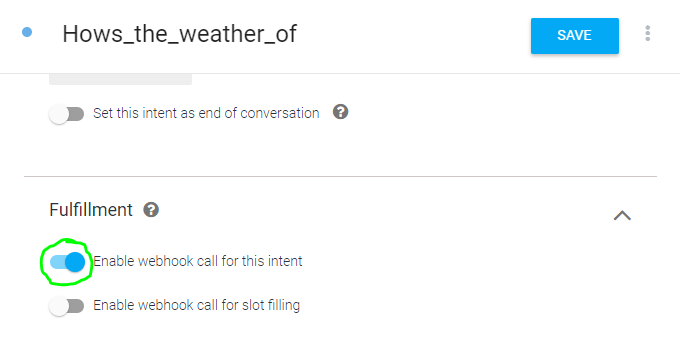 Intentのwebhook呼び出しを有効にする