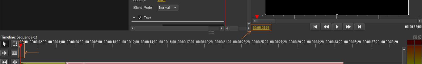 タイムラインの時間のコントロールは2か所で可能