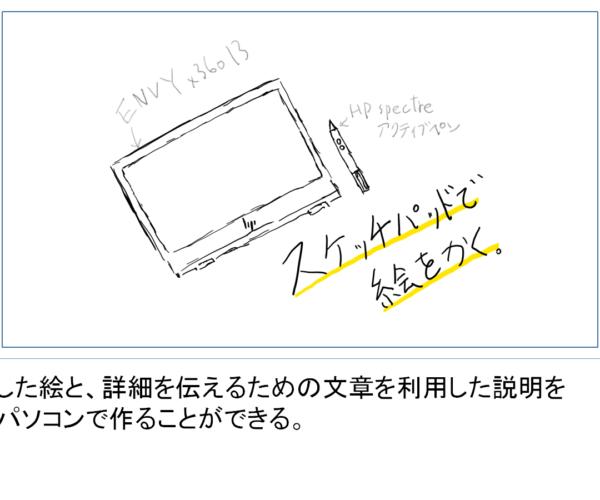 描いた絵と文章を同時に載せて絵コンテを作る