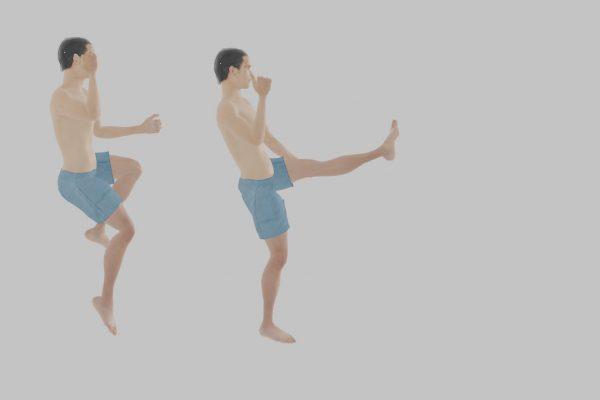 蹴る足で床を蹴って飛び上がって足を蹴りだすジャンプキック(これだけ2枚・・)