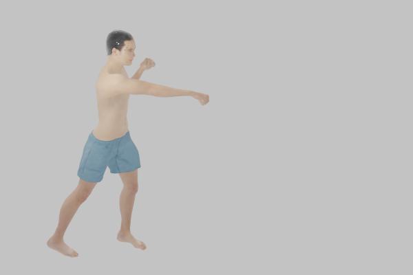 後ろの足と同じ側の腕で撃つクロス