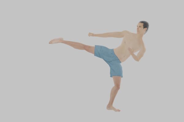 軸足でバランスを保って身体を傾けて横を蹴る!サイドキック