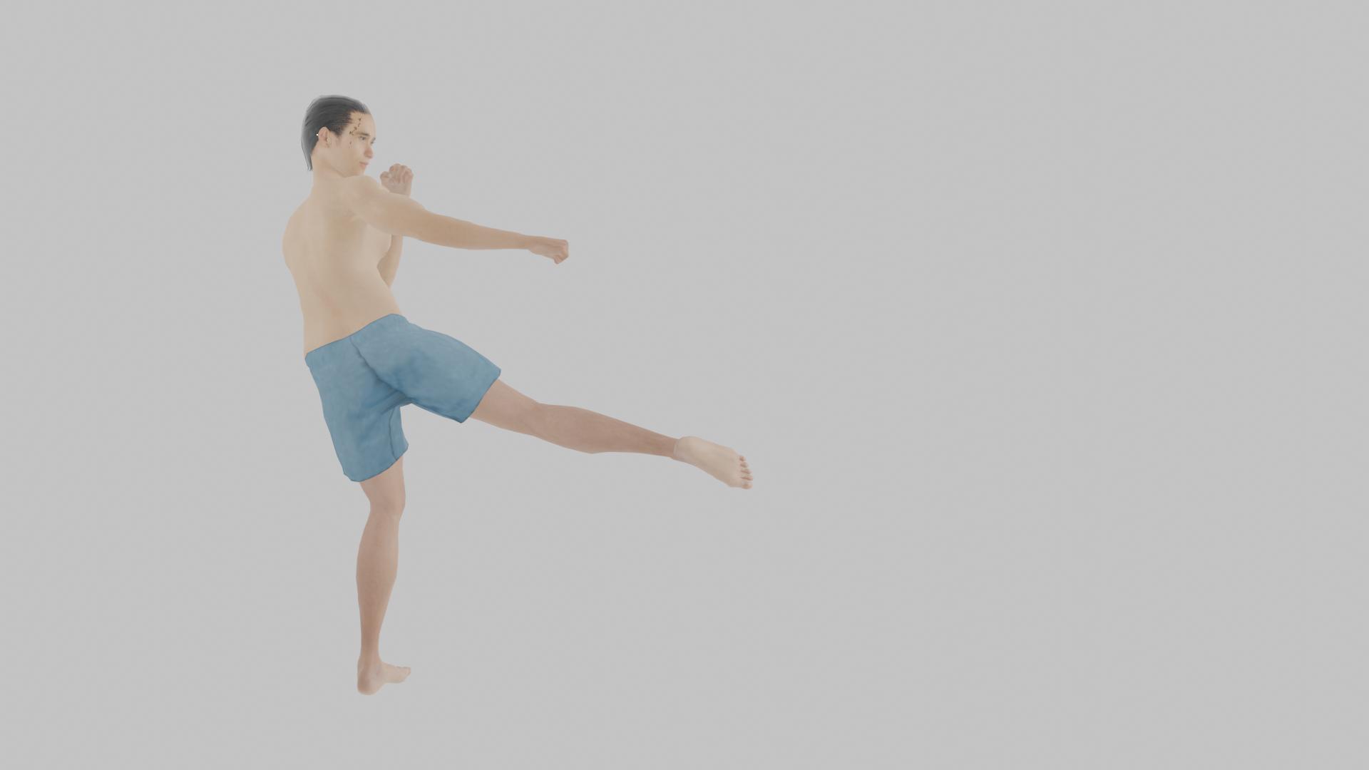 膝を曲げて蹴り足を持ち上げて、身体を回して膝から先の足を放つラウンドハウスキック